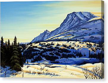 Canvas Print featuring the painting Flattop Winter by Kurt Jacobson