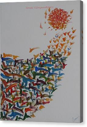 Canvas Print featuring the painting Fleet Of Birds by Sonali Gangane