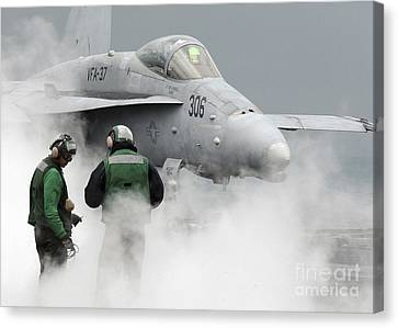 Flight Deck Personnel Are Surrounded Canvas Print by Stocktrek Images