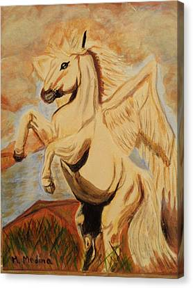 Flight Of The Pegasus Canvas Print by Maria Medina