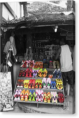 Canvas Print featuring the photograph Flip Flops Anyone by Victoria Lakes