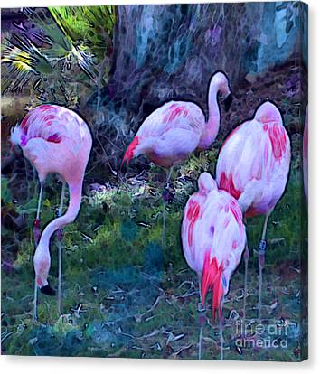 Flippin' Flamingoes Canvas Print by Elinor Mavor