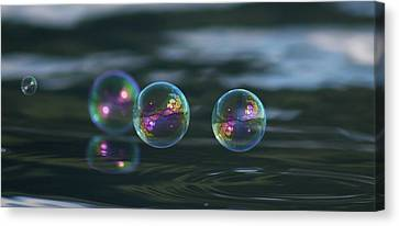 Canvas Print featuring the photograph Floating Bubbles by Cathie Douglas