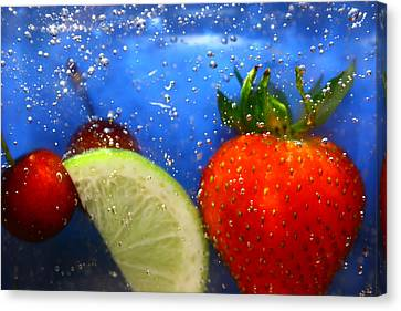Floating Fruit Canvas Print by Paula Brown