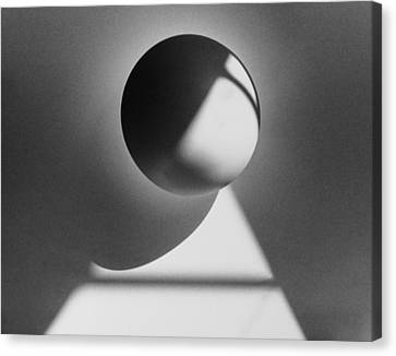 Floating Sphere On Light Triangle- Black And White Silver Gelati Canvas Print by Adam Long