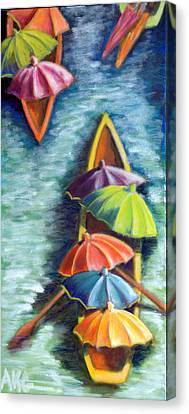 Floating Umbrellas Canvas Print by AnneKarin Glass