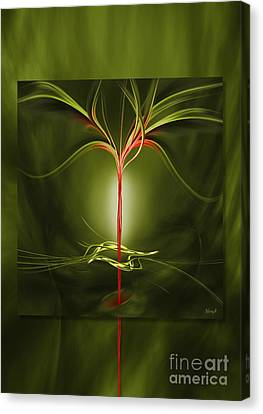 Floating With Red Flow 9 Green Canvas Print
