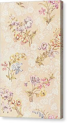 Tapestries - Textiles Canvas Print - Floral Design With Peonies Lilies And Roses by Anna Maria Garthwaite