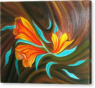 Floral Friendship-abstract Painting Canvas Print by Rejeena Niaz