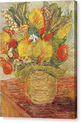 Floral In Vase With A Bow Canvas Print by Anne-Elizabeth Whiteway