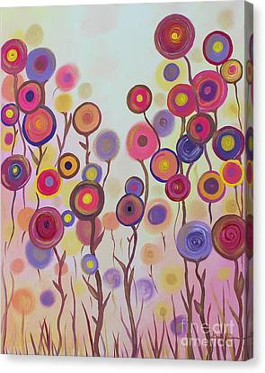 Canvas Print featuring the painting Floral Jewels by Stacey Zimmerman