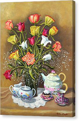 Floral With China And Ceramics Canvas Print