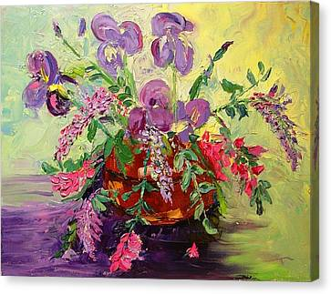 Canvas Print featuring the painting Floral With Knives by Carol Berning