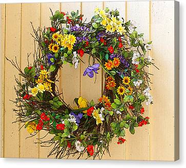 Canvas Print featuring the photograph Floral Wreath by Cindy Haggerty