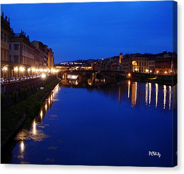 Canvas Print featuring the photograph Florence Arno River Night by Patrick Witz