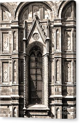 Florence Italy - Duomo Stained Glass - 02 - Sepia Canvas Print by Gregory Dyer