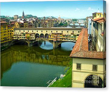 Florence Italy - Ponte Vecchio From The Uffizzi Canvas Print by Gregory Dyer