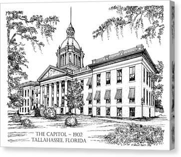 Florida Capitol 1902 Ink Canvas Print