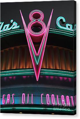 Flos Cafe - Radiator Springs Cars Land - Disney California Adventure - 5d17748 Canvas Print by Wingsdomain Art and Photography