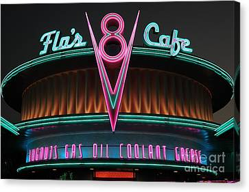Flos Cafe - Radiator Springs Cars Land - Disney California Adventure - 5d17760 Canvas Print by Wingsdomain Art and Photography