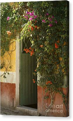 Canvas Print featuring the photograph Flower Bedecked Doorway Mineral De Pozos Mexico by John  Mitchell