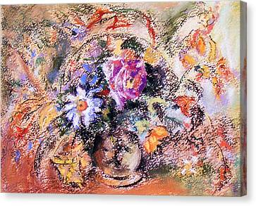 Canvas Print featuring the painting Flower Burst Mixed Bouquet by Richard James Digance