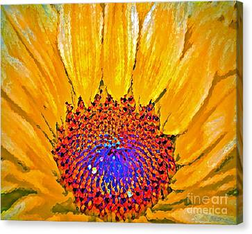 Digital Sunflower Canvas Print - Flower Child - Flower Power by Gwyn Newcombe