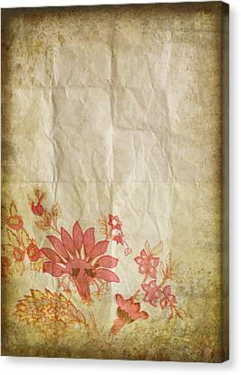 Flower Pattern On Old Paper Canvas Print by Setsiri Silapasuwanchai