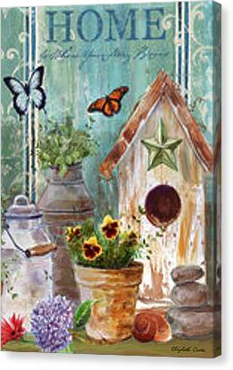 Canvas Print featuring the painting Flower Pot by Elizabeth Coats