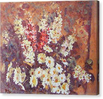 Canvas Print featuring the painting Flower Profusion  by Richard James Digance