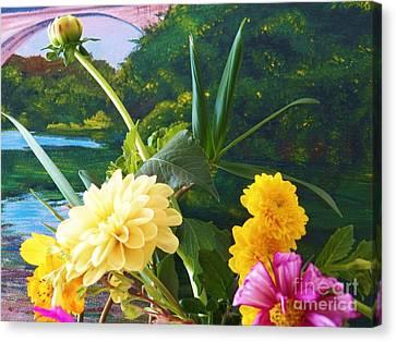 Flower River Island Canvas Print by Judy Via-Wolff