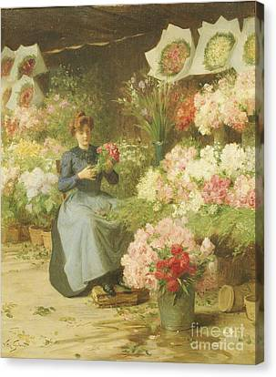Flower Seller In Front Of The Madeleine Church Canvas Print by Victor Gabriel Gilbert