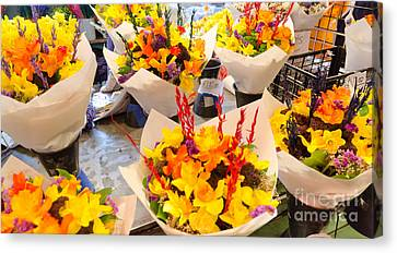 Flower Vendor Pikes Place Public Market Seattle Wa Usa Canvas Print by Andy Smy