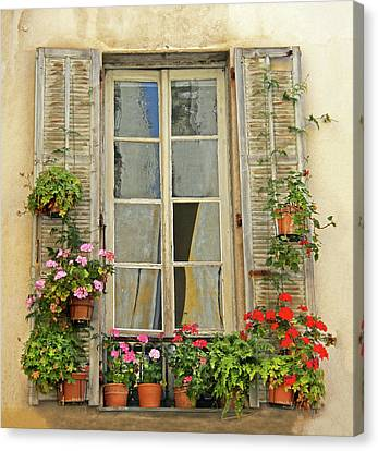 Canvas Print featuring the photograph Flower Window Provence France by Dave Mills