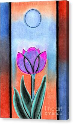 Canvas Print featuring the pastel Flower With Blue Moon by Christine Perry