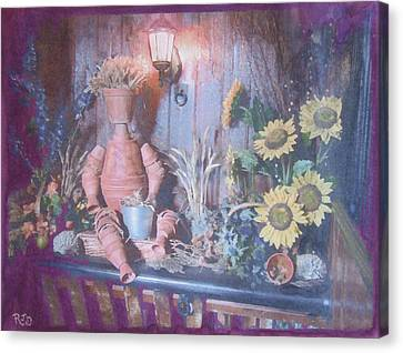 Canvas Print featuring the painting Flowerpotman by Richard James Digance