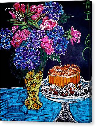 Flowers And Cake Canvas Print