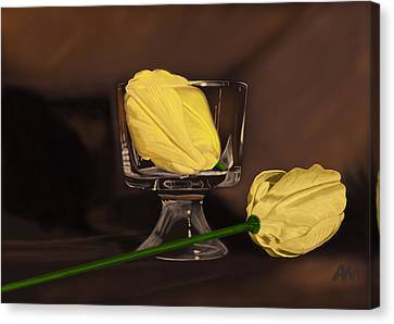 Flowers And Glass Canvas Print by Tony Malone