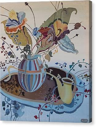 Flowers And Saxophone Canvas Print by Irina Dorofeeva