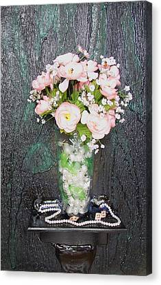 Flowers And Vase Canvas Print by Angela Stout