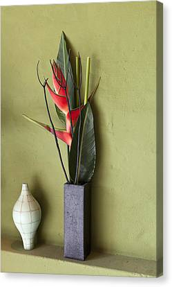 Flowers And Vases On A Shelf Canvas Print by Halfdark