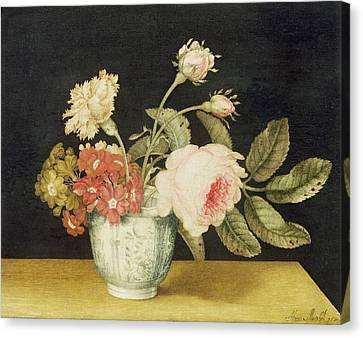Flowers In A Delft Jar  Canvas Print by Alexander Marshal