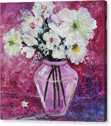 Flowers In A Magenta Room Canvas Print by Marilyn Woods