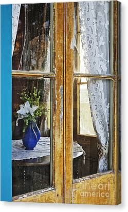 Flowers In A Vase Seen Through A Window Canvas Print by Jeremy Woodhouse