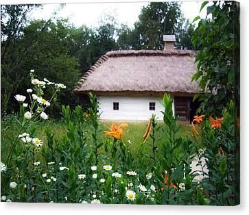 Flowers Near Rural House Canvas Print by Aleksandr Volkov