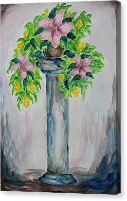 Flowers On A Pedestal - Wcs Canvas Print by Cheryl Pettigrew