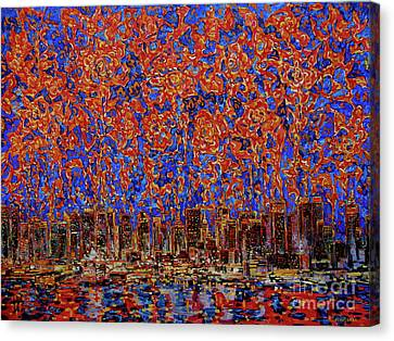 Flowers Over The City. New York Canvas Print by Andrey Soldatenko