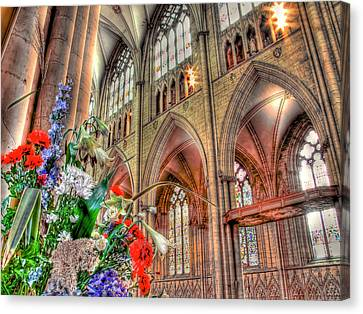 Flowers York Minster - Hdr Canvas Print by Colin J Williams Photography
