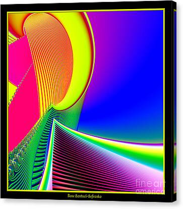 Fluorescent Boat And Giant Wave Fractal 95 Canvas Print by Rose Santuci-Sofranko