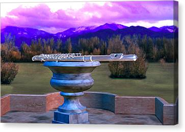 Flute On Marble Vase 2 Canvas Print
